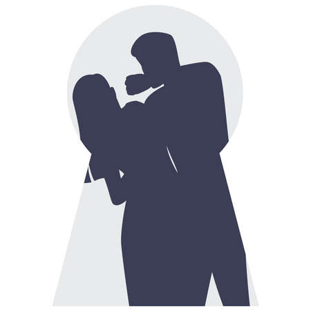 Young woman who is threatened by husband behind closed door. Male character punching woman in the face in keyhole. Domestic violence and abuse concept. Isolated vector illustration in cartoon style