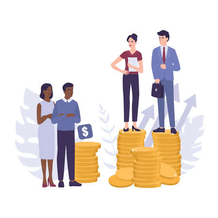 Racism concept. Discrimination and enequal treatment based on race. Businessman and businesswoman on piles of coins. Inequal payment and career problem of people of colors. Vector illustration Vecteurs