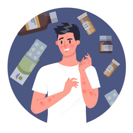 Man with medecine allergy. Red and itchy skin. Allergic reaction to cigarette smoke. Isolated vector illustration in cartoon style