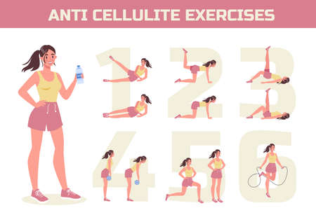 Anti cellulite exercises program for losing weight. Become slim doing sport exercise for thighs. Healthy and active lifestyle. Isolated flat vector illustration