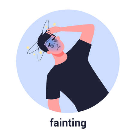 Man fainting. Symptom of disease. Sick person with dizziness. Isolated flat vector illustration Vettoriali