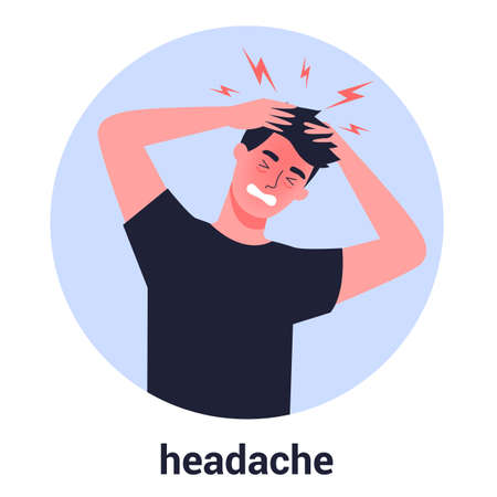 Man suffer from the pain in the head. Headache and stress from the illness. Migraine and bad mood. Isolated flat vector illustration