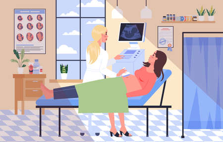 Pregnant woman visiting female doctor in hospital. Patient is examined by professional. Checking belly by ultrasound. Isolated flat vector illustration