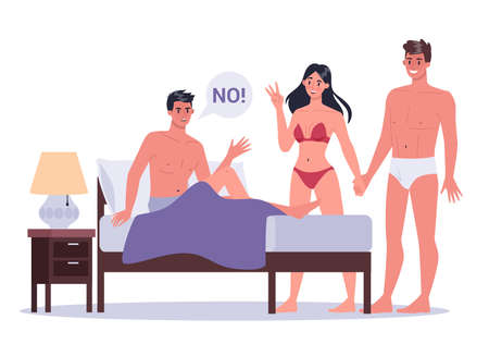 Couple of man and woman in bed. Concept of sexual or intimate problem between romantic partners. Sexual behavior misunderstanding. Vector illustration in cartoon style Ilustração