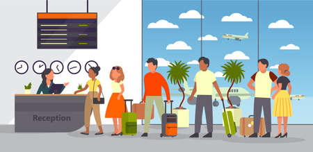 Airport with passenger. Check-in and registration. People Vector Illustration
