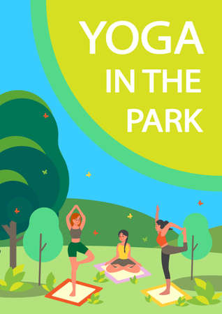 People doing yoga in the park. Asana or exercise for people in the park. Physical and mental health. Body relaxation and meditation outside. Isolated vector illustration Illustration