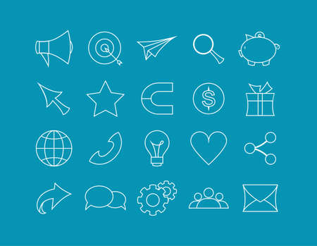 Colorfull icons for referral program set. Icons for business situations, and communication. Targeting and advertising, idea and development. Vector illustration