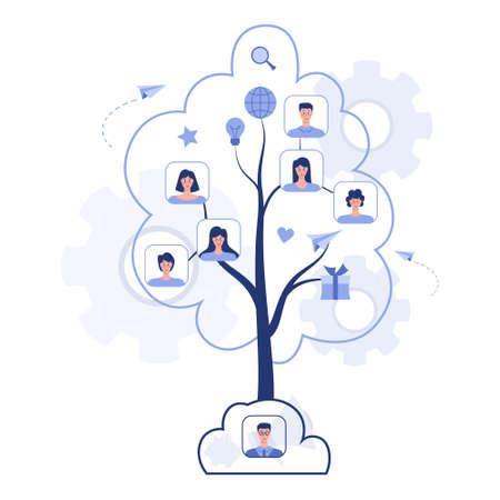 Referral program concept. A tree as metaphor of referral marketing and business partnership, referral program strategy and development. Vector illustration Ilustração