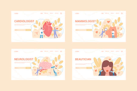 Medical specialties web banner concept set. Cardiologist, neurologist, beautician and mammologist. Disease diagnosis and treatment. Vector illustration in flat style