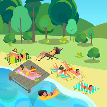 Summer vacation activities concept. People laying on beach towel relaxing and getting a suntan. Woman and man on summer holiday and vacation. Vector illustration in cartoon style