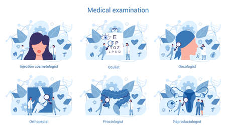 Medical specialty and examination set. Therapist and urologist,