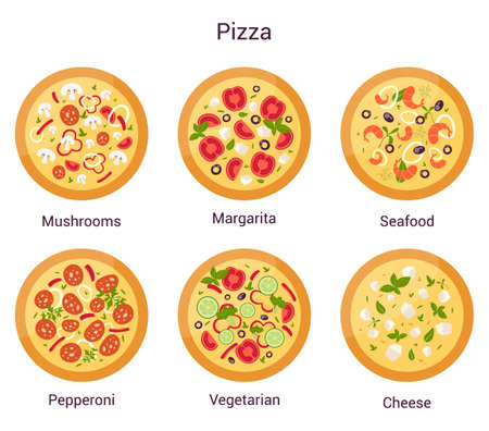 Pizza of different types set. Margherita and pepperoni, vegetarian