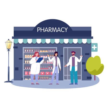 Modern pharmacy building exterior. Professional medicine worker
