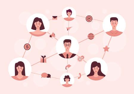 Referral program concept. Business network in referral marketing