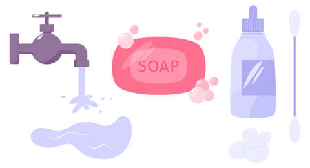 First aid treatment for wound on skin. Clean water, soap and antiseptic. Illustration