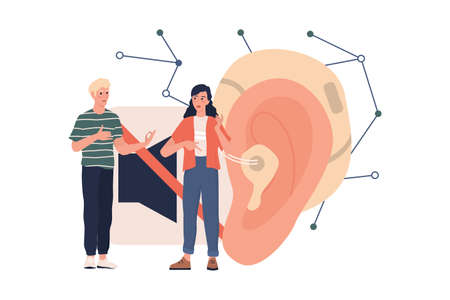 Hearing disability concept. Deaf man and woman talk to each other.