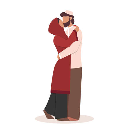Modern muslim couple kissing each other. Arabian woman and man Vetores