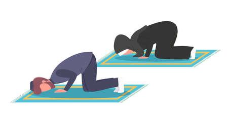 Muslim man and woman praying position. Man and woman