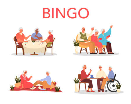 Happy elderly playing bingo together. Old man and woman playing