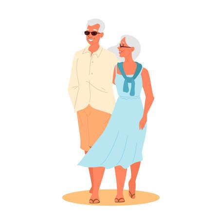 Vector illustration of a loving elderly couple. Happy seniors spending Vetores