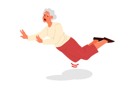 Retired women faling down. Old woman falling on her knee.