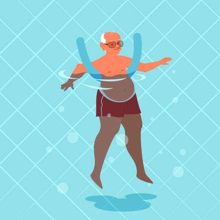 Alter Mann, der Übung mit Schwimmbadnudel macht.