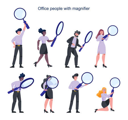 Business people in formal suit holding a magnifying glass. Recruiting, 向量圖像