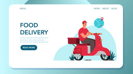 Food delivery web banner. Courier with box on moped. Person in uniform on scooter. Delivery service concept. Order in the internet. Food delivery landing page. Isolated flat vector illustration Ilustracja