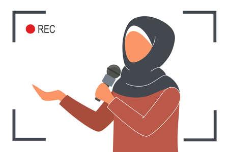 Muslim TV news. Beautiful female reporter speaking