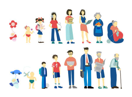 Man and woman in different age. From child to old person. Teenager, Vector Illustratie