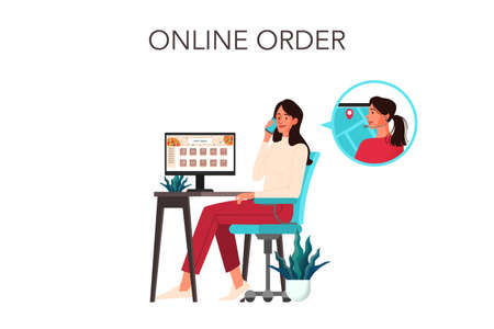 Online order and delivery concept. Woman call to food delivery
