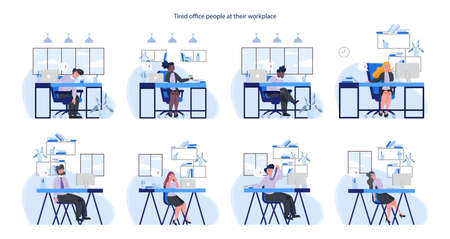 Exhausted business man and woman set. Business people with lack of energy  イラスト・ベクター素材