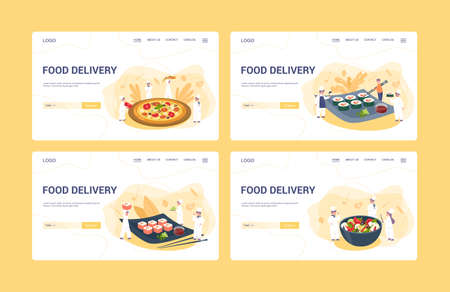 Food delivery web banner or landing page idea. Restaurant chef