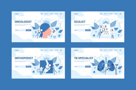 Medical specialty and examination web banner or landing page set. Oculist, oncologist, orthopedist and TB specialist. Disease diagnosis and treatment. Vector illustration in flat style Иллюстрация