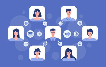 Referral program concept. Business network in referral marketing and business partnership, referral program strategy and development. Vector illustration Vektoros illusztráció