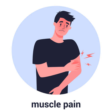 Man with muscle pain. Sport trauma and sickness. 2019-nCoV 写真素材 - 143438064