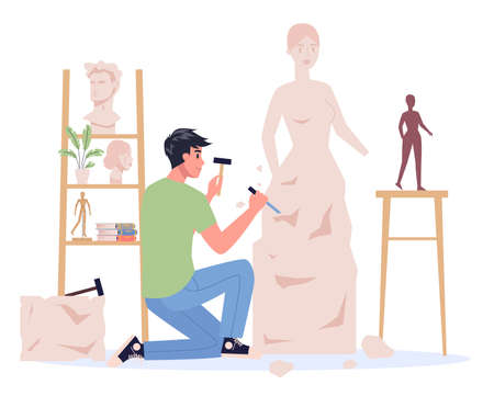 Young sculptor working. Creating sculpture of the marble. Creative Vector Illustratie