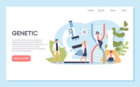 Geneticist web banner concept. Medicine and science technology.  イラスト・ベクター素材