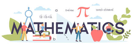 Math school subject. Learning mathematics, idea of education and knowledge. Science, technology, engineering, mathematics education. Isolated flat vector illustration Ilustración de vector