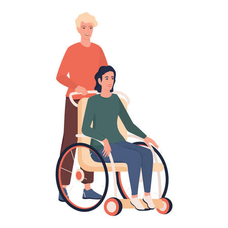 Disabled people living active life concept. Young woman sitting
