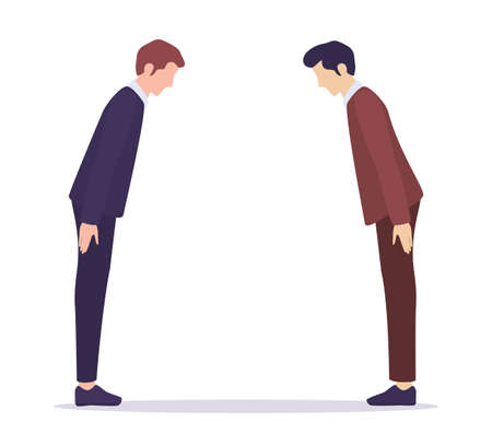 International business comunication. Japanese businessman greeting bow. Formal business etiquette. Isolated vector illustration