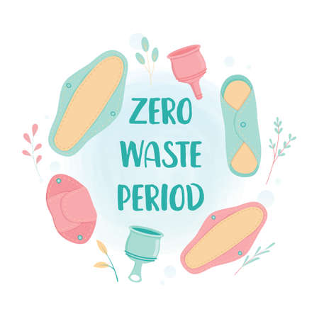 Zero Waste concept. Woman menstrual period eco friendly product. Reusable cloths pads, menstrual cup. Isolated vector illustration