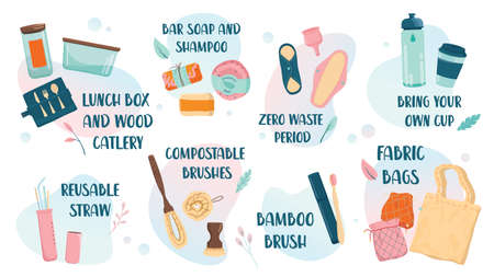 Zero waste web banner, eco tips infographic. Lifestyle elements 写真素材 - 143438121