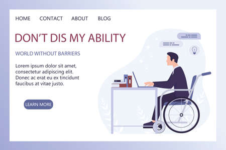 Disabled young man in wheelchair working in office. Happy man with