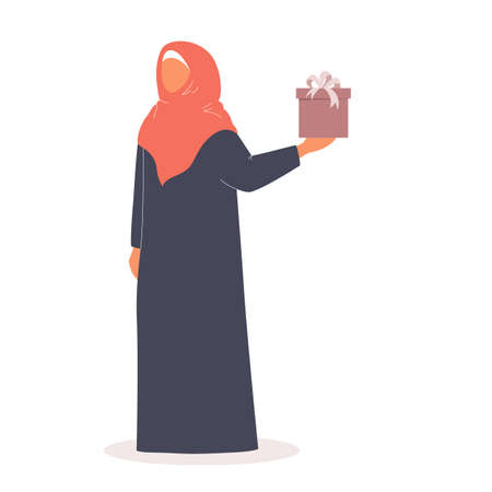 Muslim woman holding gift box. Arabian woman in different  イラスト・ベクター素材