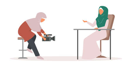 Muslim TV journalist or news reporter set. Character with camera