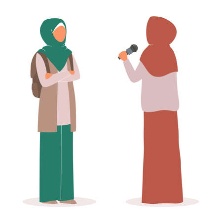 Muslim TV news. Beautiful female reporter interviewing arab