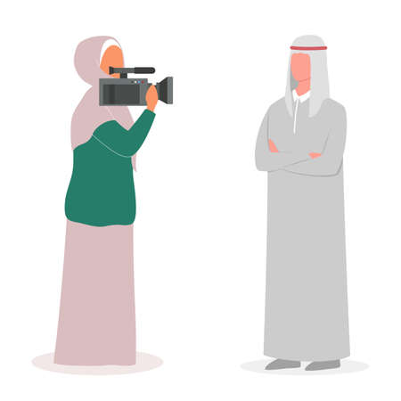 Muslim TV journalist or news reporter. Character with camera shooting