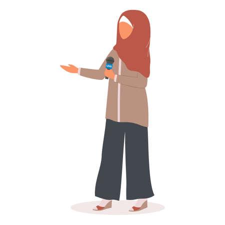Muslim TV journalist or news reporter. Muslim female character