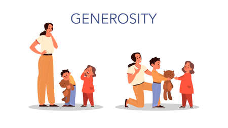 Parenthood and child rearing concept. Woman teach her son generosity. Influence on child, family relationship, and childcare. Isolated vector illustration in cartoon style